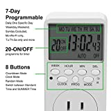 Outlet Timer, 7 Day Wall Plug in Light Timer