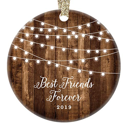 "Best Friends Forever Gifts 2019 Bestie BFF Keepsake Christmas Ornament, Rustic Sister Friendship Women Xmas Farmhouse Collectible Present 3"" Flat Circle Porcelain with Gold Ribbon & Free Gift Box"