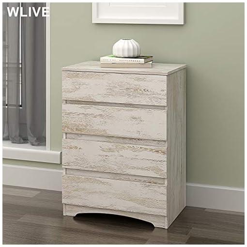 Bedroom WLIVE 4 Drawer Dresser, Chest of Drawers, Wood Storage Organizer Unit for Bedroom, White Oak dresser