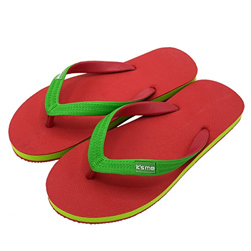 its me It´s Me | Flip Flop | Jetzt Aus Natur-Kautschuk | 0% PVC | Rutschfest und Weich | gesundheitlich unbedenklich | Kautschuk Passt Sich der Form Deines Fußes An | Fühle Den Unterschied ! rot / grün