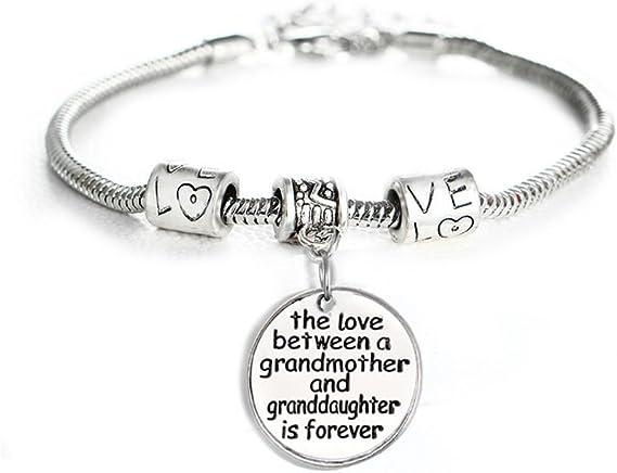 Grandmother Gift Bracelet Grandson Thick Rectangle Chain Bracelet Gift from Grandkids Present from Granddaughter Grandma Bracelet