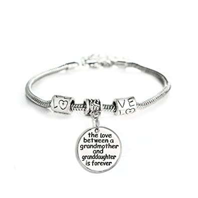 91a49c1e5 Love Between a Grandmother and Granddaughter is Forever Bracelet - Family  Jewelry Gift - 10'