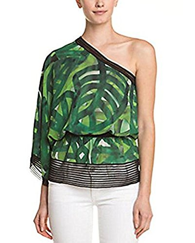 ESCADA Naana Fantasy Print Silk One-Shoulder Top (36) - Escada Top Shirt