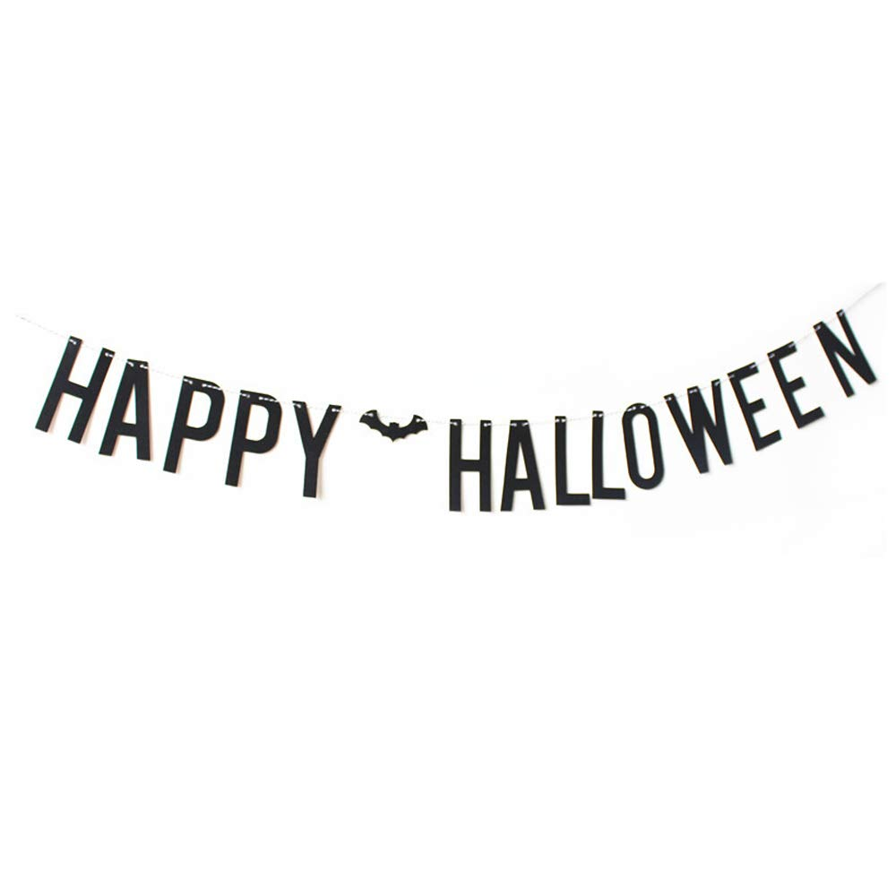 ASIDIY Black Glitter Happy Halloween Party Banner Bunting Signs Black Glitter