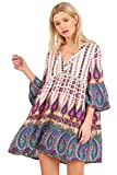 Umgee Paisley Print Women's Bohemian Vintage Ethnic Style Loose Casual Tunic Dress (Large, Green Mix)