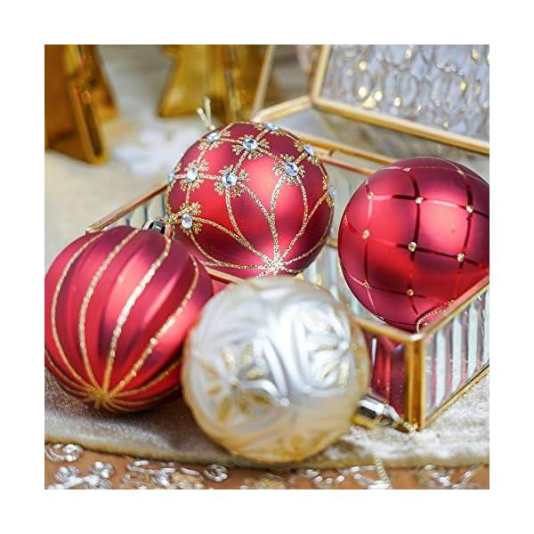 Valery Madelyn Palle di Natale 24 Pezzi 7cm Palline di Natale, Ornamenti di Palla di Natale Infrangibili di Lusso Rosso e Oro per la Decorazione Dell'Albero di Natale 5 spesavip