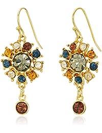 Arabian Nights Swarovski Crystal Button Drop Fish Hook Drop Earrings