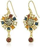 Ben-Amun Jewelry Arabian Nights Swarovski Crystal Button Drop Fish Hook Drop Earrings