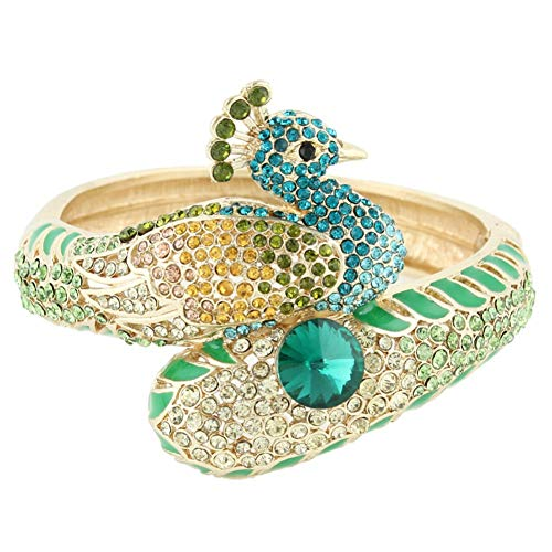 GAJSDJHN Bracelet Peacock Peafowl Animal Bracelet Bangle Crystal Enamel Bracelet for Women Cocktail Party Jewelry Gift Dress