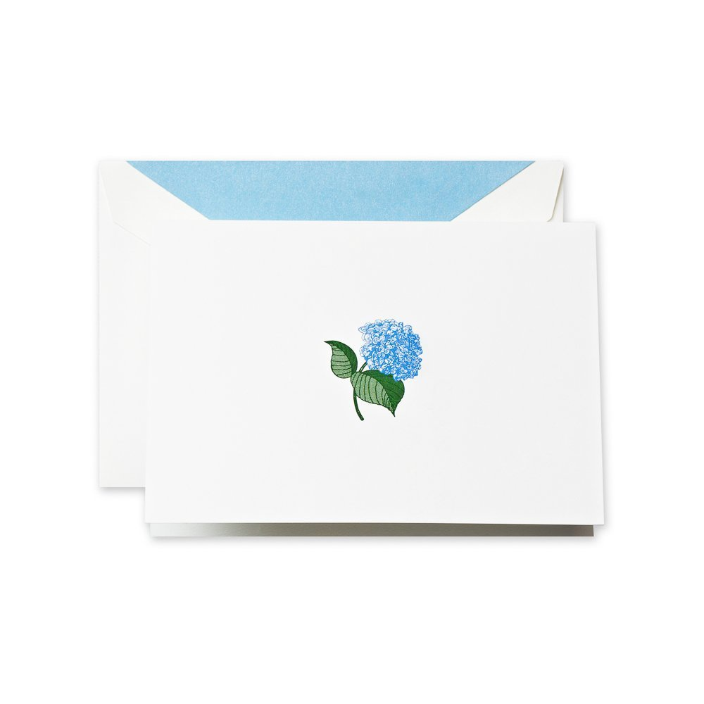 Crane & Co. Hand Engraved Blue Hydrangea Note- Pack of 20 Cards