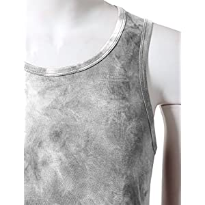 JD Apparel Men's Hipster Hip Hop Crewneck Tank Top With Tye Dyed S White