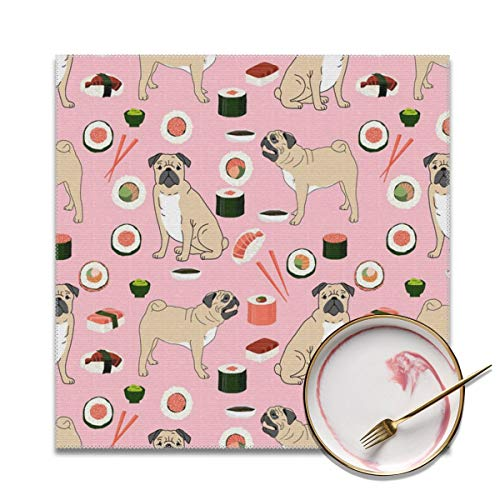 HuiboJu Trading Pug Halloween Costume Fabric Placemats Set of 4 Heat-Resistant Placemats for Dining Table Polyester Fiber Stain Resistant Table Mats Washable Placemat Easy to Clean]()