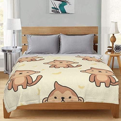 Couverture en polaire, motif singe mignon sans couture, fond ultra doux et moelleux, couverture polaire pour canapé, lit et salon 127 x 101,6 cm