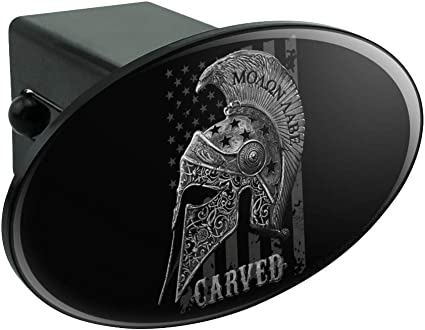 Graphics and More Carved Molon Labe USA American Flag Spartan Helmet 2nd Amendment Tow Trailer Hitch Cover Plug Insert 2