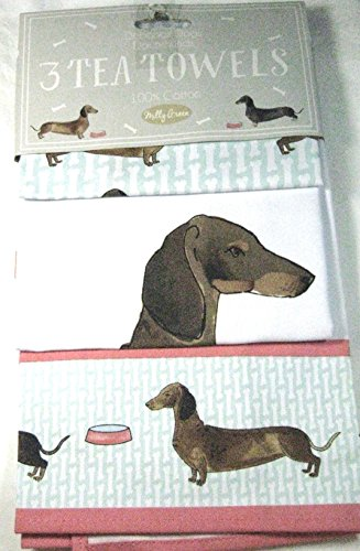 Debonair Dogs Tea Towels Coordinating Set of 3 Dachshunds 100% Cotton