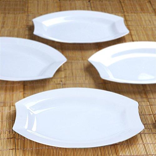 White W/ Silver Edge 10.5 Inch Crescent Oval Shaped Disposable Plate - Chambury Plastics