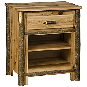 Rustic Hickory 1 Drawer and 1 Shelf Nightstand