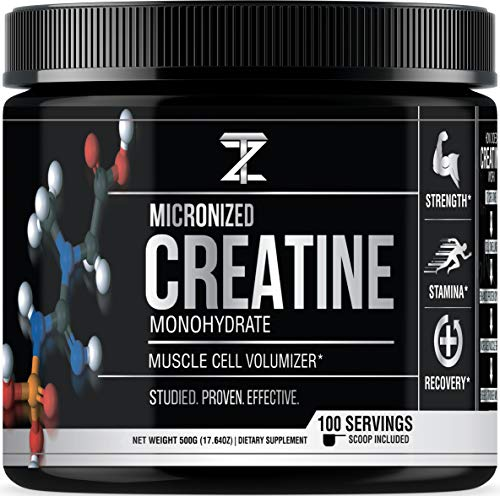 Muscle Cell Volumizer - Micronized Creatine Monohydrate Powder from TZ Nutrition - 100 Servings with Scoop