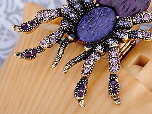 Alilang Stretchy Golden Tone Purple Rhinestones Heart Spider Tarantula Ring Photo #6