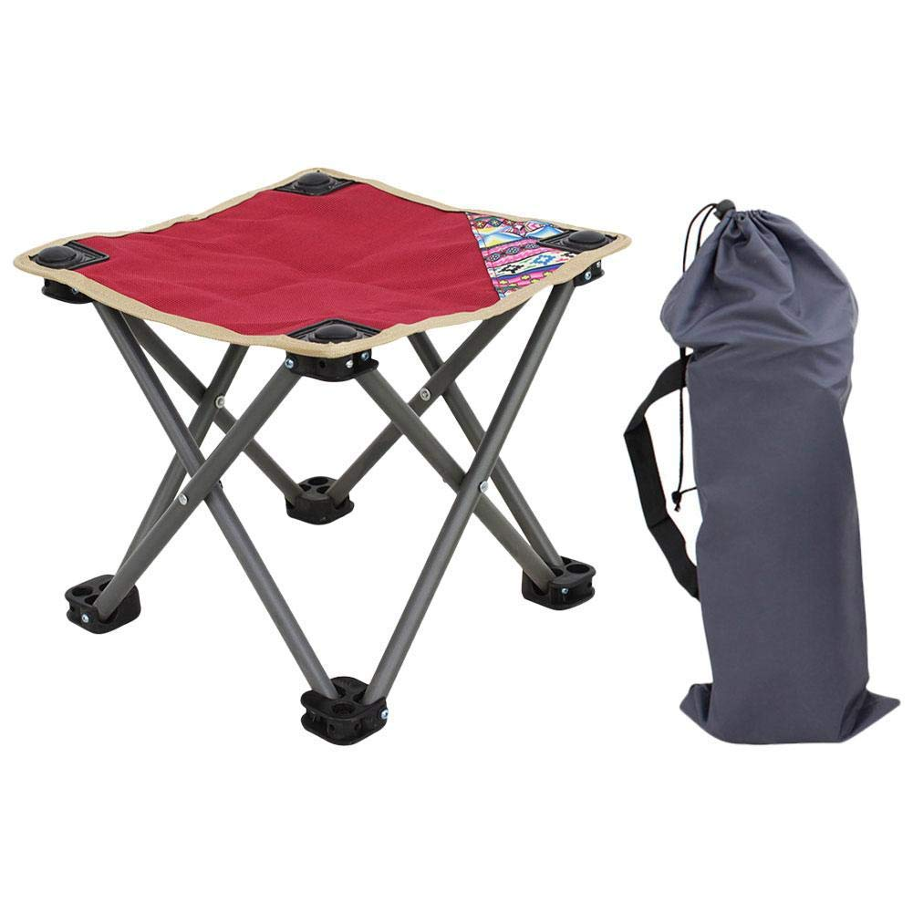 YANGYA Outdoor Folding Stool Chairs Portable Foldable Small Lightweight Camp Steel Pipe Stools Seat for Camping Fishing Picnic BBQ Travel and Hiking-red