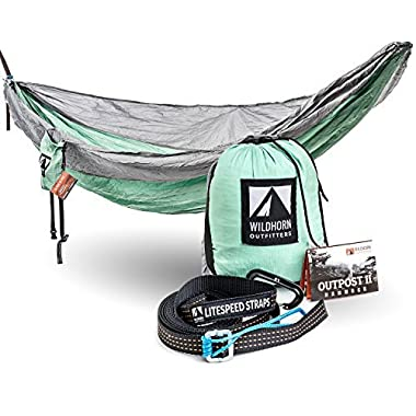 Outpost Camping Hammock With Adjustable LiteSpeed Cinch Buckle Suspension System- Includes 11' 100% Polyester Tree Straps, Wire Gate Carabiners- Single or Double Size- 100% Parachute Nylon