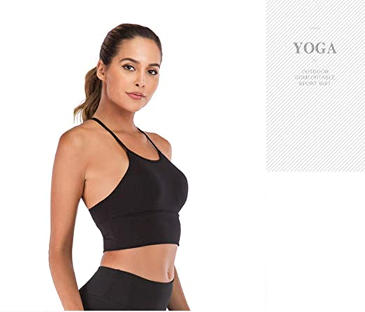 Yoga Bra High Neck Wireless Push Up Sport Bra Top Women ...