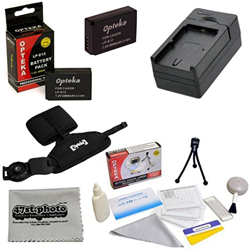 2 Canon LP-E12 LPE12 Replacement Battery Packs 2000MAH Each 4000MAH in Total! + 1 hour AC/DC Rapid Battery Charger For the Canon EOS M M2 Rebel SL1 100D Digital Camera Includes Bonus Opteka GS-3 Neoprene Padded Dual Grip/Wrist Strap + Deluxe Lens Cleaning Kit + LCD Screen Protectors + Mini Tripod + 47stphoto Microfiber Cloth Photo Print !