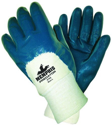 MCR Safety 9750 Predator Supported Nitrile Palm Coated Men's Gloves with Knitted Wrist, Smooth, Blue/White, Large, 1-Pair