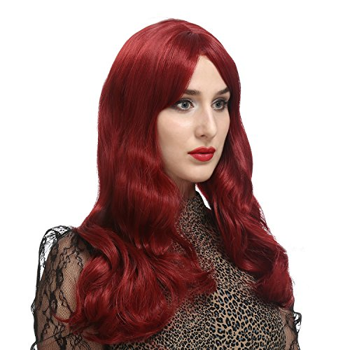 [DAOTS 28 Inches Wine Red Curly Wig Long Wavy Wigs for Women Cosplay Costume, Free Wig Cap and Bobby] (Jessica Rabbit Wig)
