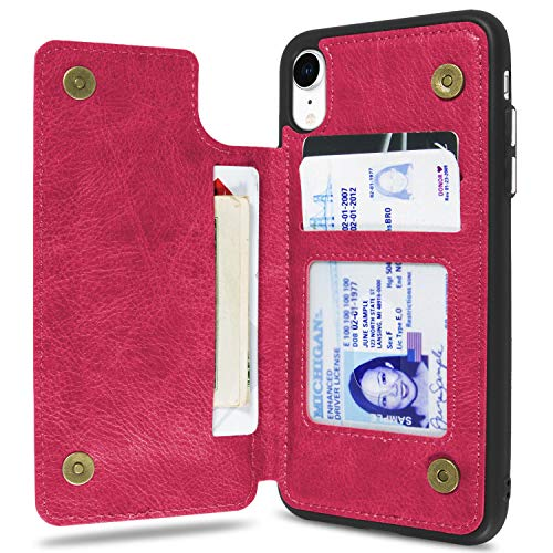 CoverON [Daytripper Series] iPhone XR Wallet Case, Vegan Leather Slim Fit Credit Card Holder Phone Cover for Apple iPhone XR (6.1