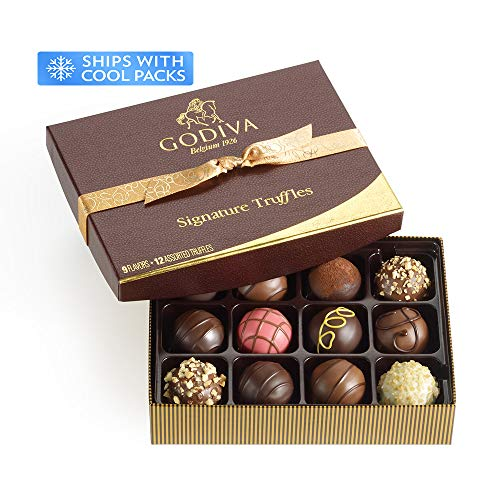 Godiva Chocolatier Signature Chocolate Truffles, Gift Box, Great for Gifting, Premium Chocolate, Gifts for Her, 12 pc (Premium Belgian Chocolate Truffles)