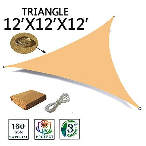 SUNNY GUARD 12′ x 12′ x 12′ Sand Triangle Waterproof Sun Shade Sail UV Block f ...
