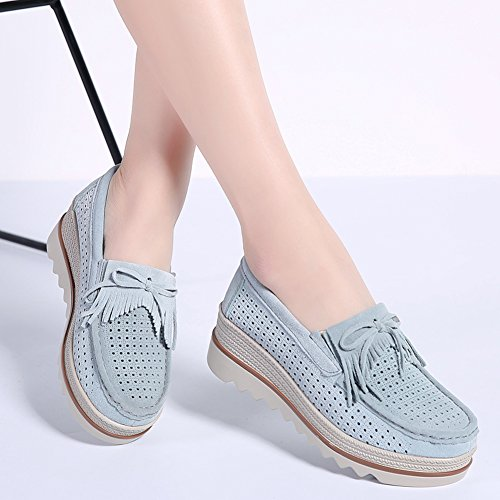 2017 On Moccasins Shoes Women 2 Work Summer STQ Hollow Platform Out Suede Loafers Grey Wedges Tassel Comfortable Slip nq1xnZwW7
