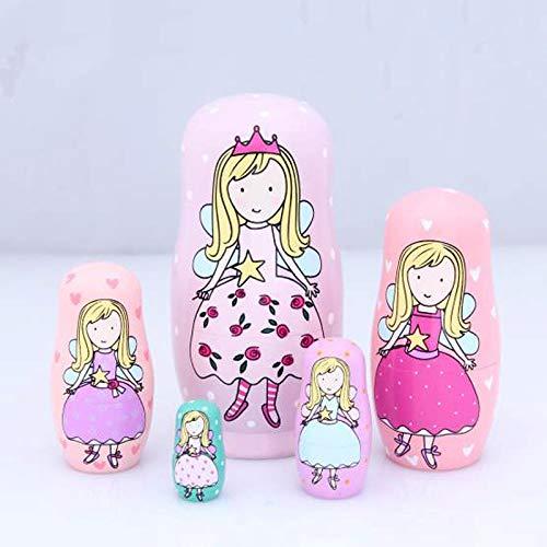Trkee 5 Layers Children Toys Princess Russian Nesting Dolls Wooden Matryoshka Doll Handmade Crafts Fairy Girls Toy Kid Gifts