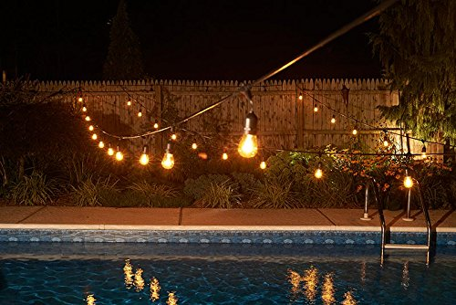 Outdoor String Lights, iEGrow 33Ft/48Ft Commercial Edison Weatherproof Patio Light Strand with 10 Hanging Sockets and 10 LED Bulbs for Porch Patio Garden Vintage Bistro