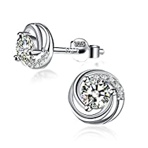 Earrings, Valentines Day Gift with Exquisite Package 925 Sterling Silver Stud Earrings with 5A CZ J.Rosée Fine Jewelry for Women Spiral Love