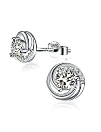 "Earrings, Valentine's Day Gift with Exquisite Package 925 Sterling Silver Stud Earrings with 5A CZ J.Rosée Fine Jewelry for Women ""Spiral Love"""