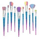 Qivange Unicorn Makeup Brushes, Foundation Eyeshadow Powder Concealer Contour Fan Brush Unicorn Designed Rainbow Hair (10pcs, Blue)