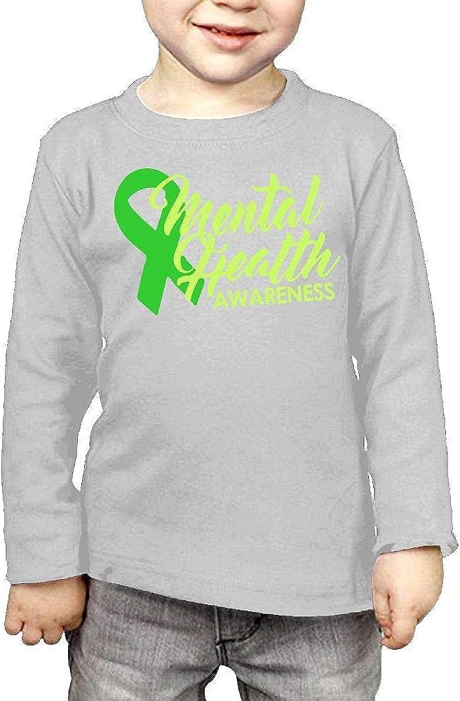 CERTONGCXTS Baby Girls Kids Mental Health Awareness Ribbon ComfortSoft Long Sleeve Shirt