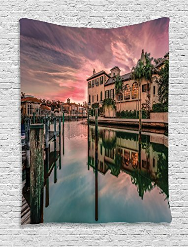 Ambesonne Cityscape Tapestry, Colorful Sunrise Over Venetian Bay Naples Florida Apartments Trees Waterscape, Wall Hanging for Bedroom Living Room Dorm Decor, 40