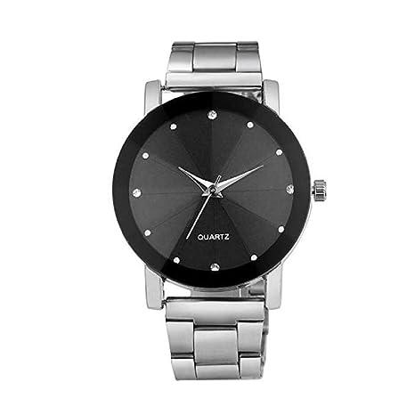 Scpink Reloj de Cuarzo para Hombre, Nuevo Rhinestone Diamond Groove Mirror analógico, Moda Casual, Reloj de Pulsera, Reloj de Acero Inoxidable para Hombres ...