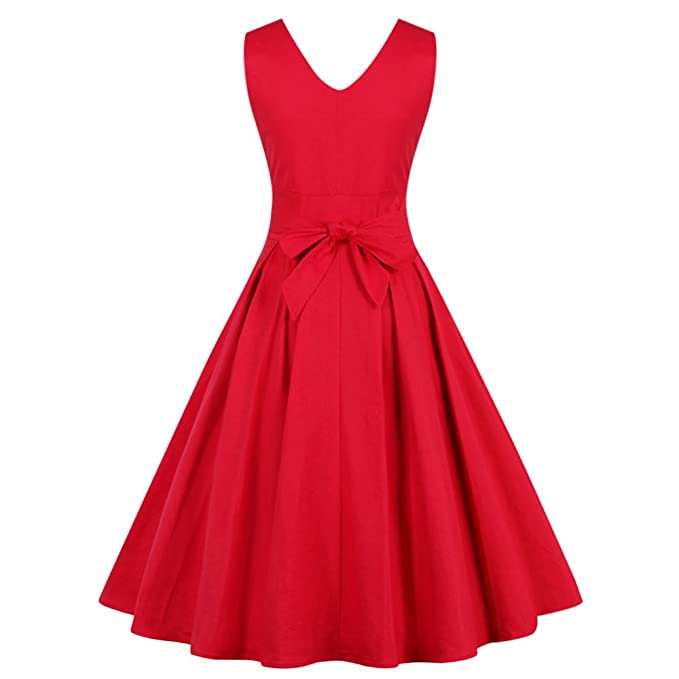 ZAFUL Women Sleeveless Vintage Summer Dress 50s 60s Swing Retro Swing Plus Size M~4XL Cotton Party Bowknots Feminino Vestidos at Amazon Womens Clothing ...
