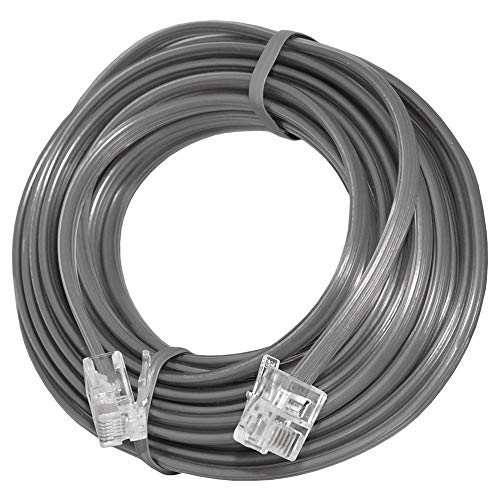 Uvital 33 Feet Telephone Landline Extension Cord Cable Line Wire with Standard RJ-11 6P4C Plugs(Grey 10M,1Pack) ()