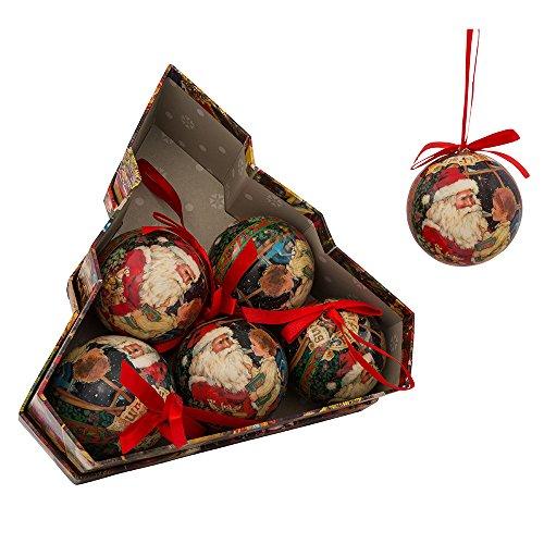 Kurt Adler 75mm Decoupage Set of 6 Christmas Ornament Set, 6 Piece (Set Decoupage Ornament)