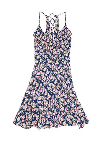 american-eagle-womens-lace-up-back-fit-flare-dress-large-blue-floral