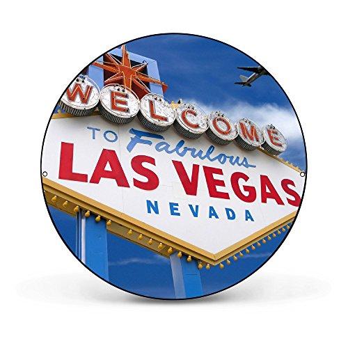 banjado - runde Magnettafel Pinnwand aus Stahl schwarz oder weiß lackiert 47cm Ø mit Motiv Las Vegas, Magnettafel rund schwarz