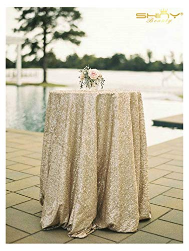 ShinyBeauty Sequin Tablecloth Glitz Sequined Table Linen-108Inch Round (Matt Gold)
