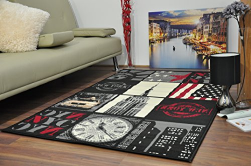 Small Medium Large Funky Retro American Black Modern New York City Multi-Pics USA Design Area Rug Soft Mats Carpet (160x225cm)