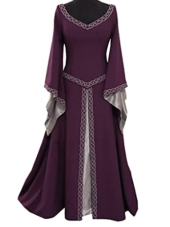 Amazon.com: Women Medieval Dress Lace up Vintage Floor Length ...