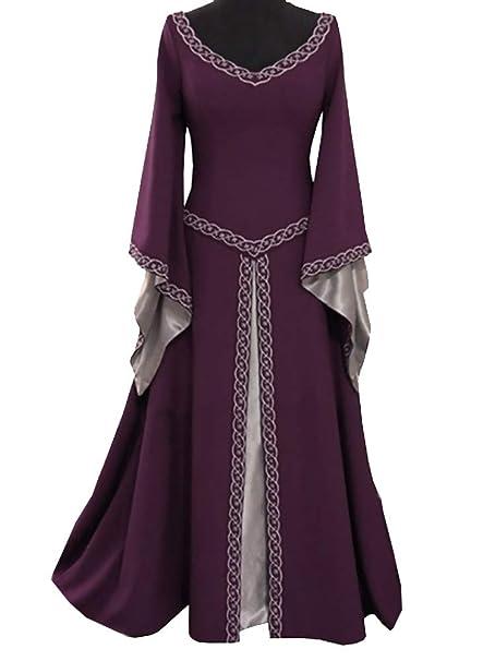 Women Medieval Dress Lace up Vintage Floor Length Cosplay Retro Long Dress  Plus Size S-5XL